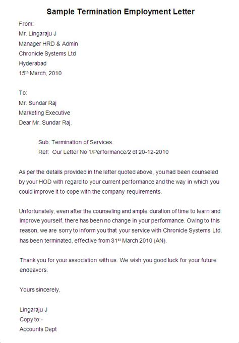 termination of employment form template employee termination letter with sles vatansun