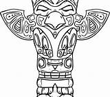 Totem Pole Coloring Pages Drawing American Native Animals Printable Getcolorings Getdrawings Paintingvalley North sketch template