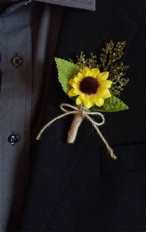wedding boutonniere boutineer rustic sunflower  mixed