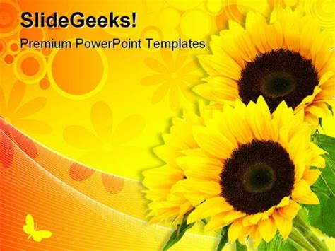 sunflower abstract beauty powerpoint template