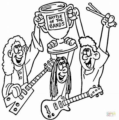 Coloring Rock Roll Pages Bands Printable Band