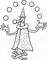 Clown Juggler Circus Jongleur Kleurplaat Coloring Colorare Malvorlagen Zirkus Pagliaccio Depositphotos Stockillustratie Vector Disegni Bobo Twinkle Easter Bild sketch template