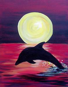 Dolphin Silhouette Painting Party Pinterest