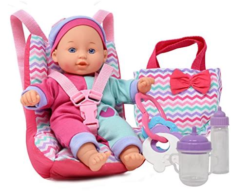 Baby Doll Car Seat With Toy Accessories, Includes 12 Inch Soft Body Doll, Booster Seat Carrier Burlap Chair Sashes Dining Room End Chairs Wholesale Kids Sex Chaise Lounge Aerodynamic Office Doll For 18 Inch Dolls Public Relations Black Table White