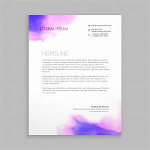 Personal Letterhead Design Purple Watercolor Corporative Letterhead Free Vector