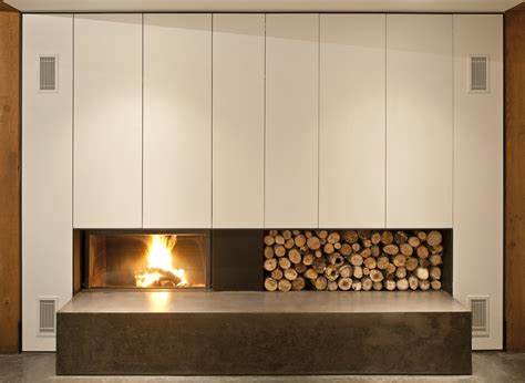 Contemporary Fireplace, Wood Store, House In Prospect