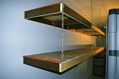 wood shelves hanging  ceiling garage shelving