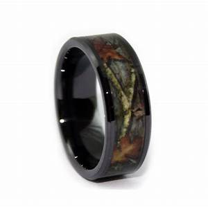 Black camo wedding rings by one camo 8mm black rings for Camo mens wedding rings
