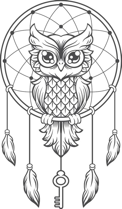 Download Owl Coloring Kittens Dreamcatcher Illustration Creative Book HQ PNG Image | FreePNGImg