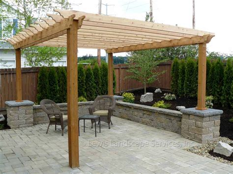 patios with pergolas lewis landscape services outdoor living spaces portland oregon beaverton or installers of