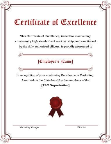 Certificate Of Excellence Template Editable by Certificate Of Excellence Certificates Templates Free