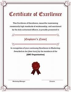 Employee Certificate Templates Free 5 Free Printable Certificates Of Excellence Templates