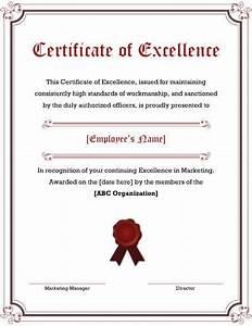Employee Certificate Templates Free 5 Free Printable Certificates Of Excellence Templates