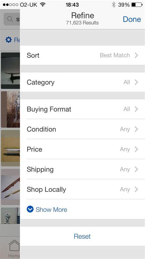 mobile app design ebay app expanded filters ui filter mobile ui mobile design and ui ux