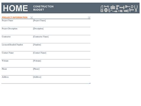 construction company budget excel template home construction budget templates office