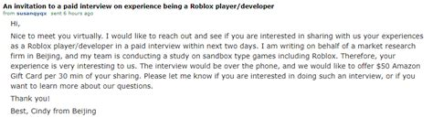 invited   roblox playerdeveloper paid interview
