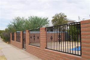 Brick And Metal Fence Designs