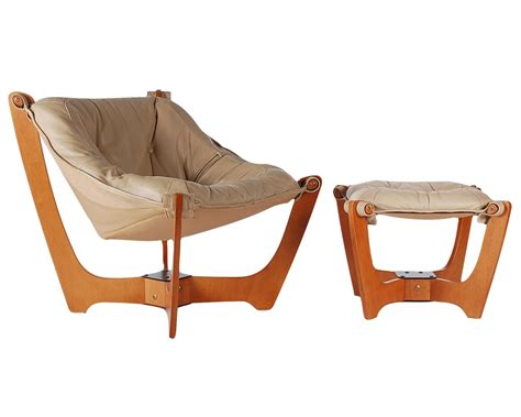 scandinavian leather sling lounge chair and ottoman for