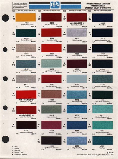 ford exterior paint codes ownself