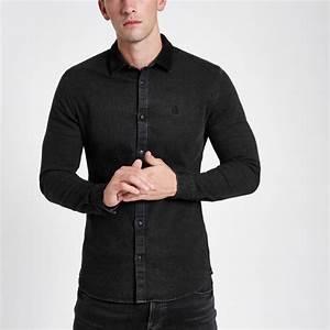 Chemise Jean Noir Homme : chemise en jean noire boutonn e manches longues noir homme river island chemises mezze bar nyc ~ Melissatoandfro.com Idées de Décoration