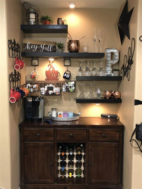 03.01.2018 · there are several bar cabinet ideas for all those of you who don't have the space for a large bar for coffee and wine places. Created my coffee/wine bar! So pleased how it turned out! #barfurnitureideashouses | Coffee bar ...