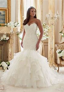 Plus size lace meets organza wedding dress style 3201 for Wedding dress sizing