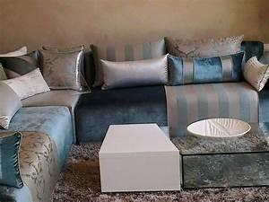 tissu pour salon marocain moderne perfect salon with With tapis de gym avec canapé tissu peau de peche