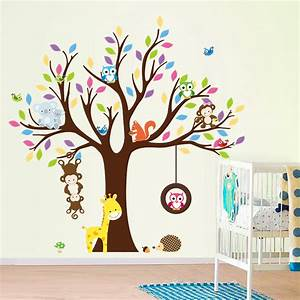 aliexpresscom buy monkey owl giraffe birds tree wall With couleur peinture mur 5 sticker art tache de peinture stickers art et design