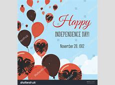 Albania Independence Day Greeting Card Flying Stock Vector