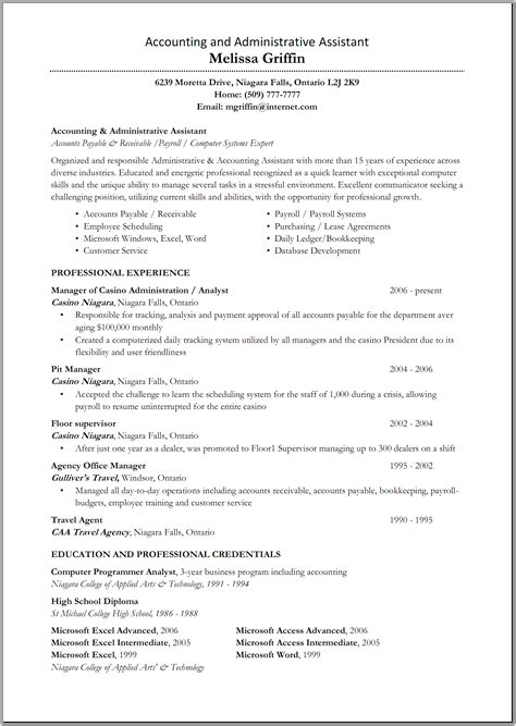 great administrative assistant resumes accounting