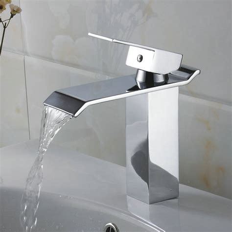Contemporary Waterfall Bathroom Sink Tap  Chrome Finish