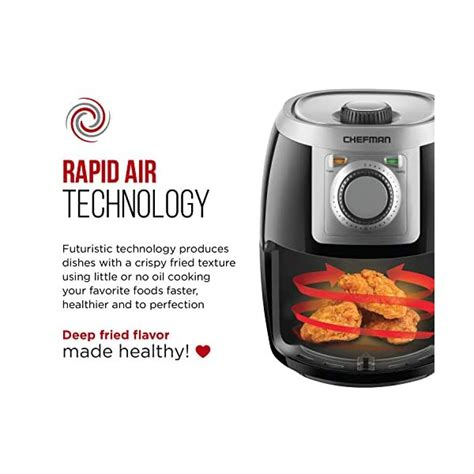 fryer air under safe turbofry chefman quart timer temperature compact minute adjustable healthy personal control