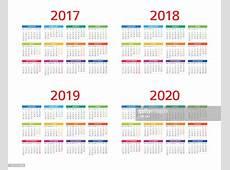 Calendar 2017 2018 2019 2020 Monday Sunday Vector Art