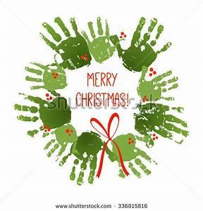 Handprint Christmas Wreath Red Handdrawn Bow Stock Vector