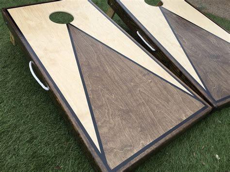 dual stained triangle cornhole board set cornhole