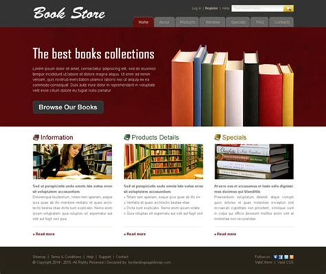 book store website template  preview