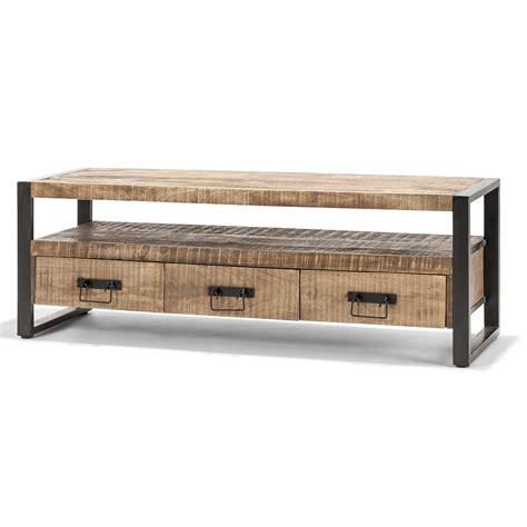 tv meubel hout en ijzer tv meubel soho van stoer hout met ijzer