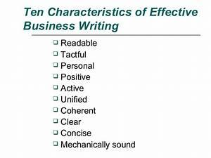 Ten Characteristics of Effective Business Writing