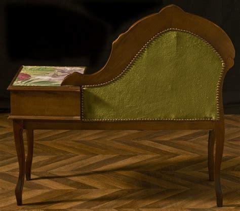 banquette de t 233 l 233 phone bois et velours meuble ancien et
