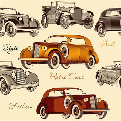 Stylish Seamless Wallpaper Pattern With Retro Cars Stock