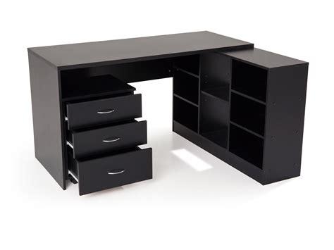 bureau bois noir bureau d 39 angle en bois avec caisson l135 5 cm presto noir