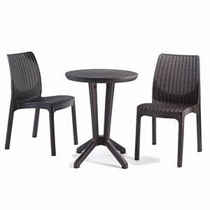 Table Ronde Plastique : salon de jardin ou de balcon en r sine de 2 chaises 1 table ronde coloris gris anthracite ~ Teatrodelosmanantiales.com Idées de Décoration