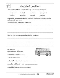 2nd grade 3rd grade reading writing worksheets compound