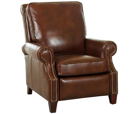 reclining club chair leather pillow back recliner w nail trim rolled arms