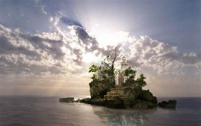 Fantasy Wallpapers Stunning Desktop Castle Island 1600