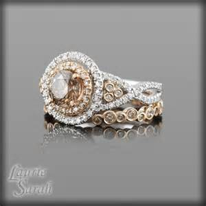 chocolate wedding ring sets chocolate colored brown wedding ring set in 14kt and whi
