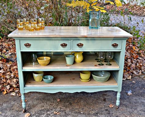 turn dresser into kitchen island heir and space an antique dresser turned island in pale aqua 9496