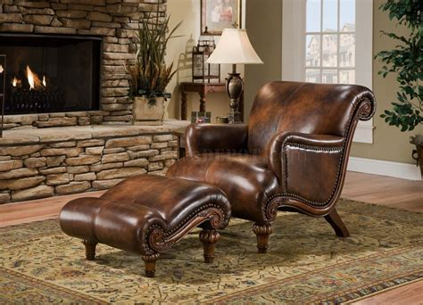 cognac brown top grain leather traditional chair ottoman