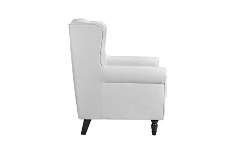 Classic Scroll Arm Faux Leather Accent Chair, Living Room