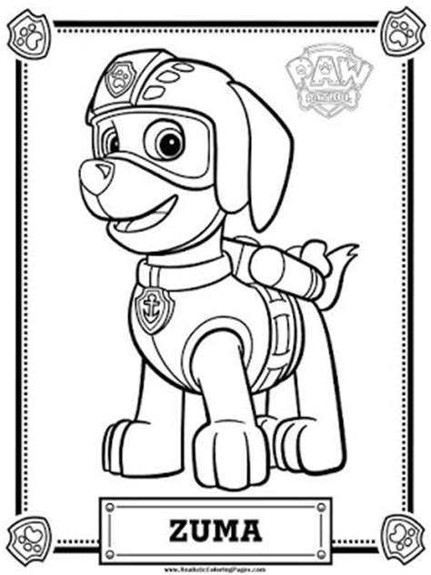 paw patrol coloring pages zuma realistic coloring pages